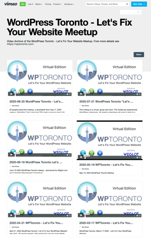 WPTO's showcase on Vimeo screenshot image.